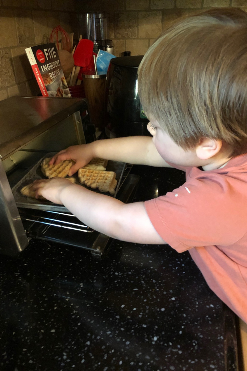 Heating up waffles in a toaster oven