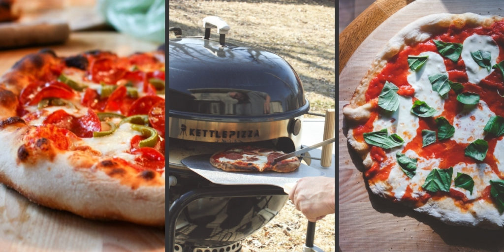 Pizzas made with a kettle pizza grill attachment - grilled pizza