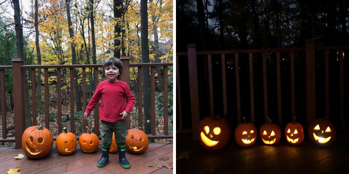 Ben with our final carved pumpkins