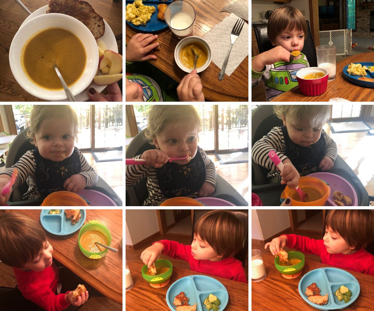 The kids eating butternut squash soup