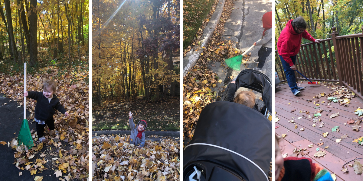 Small rake and push broom for the kids