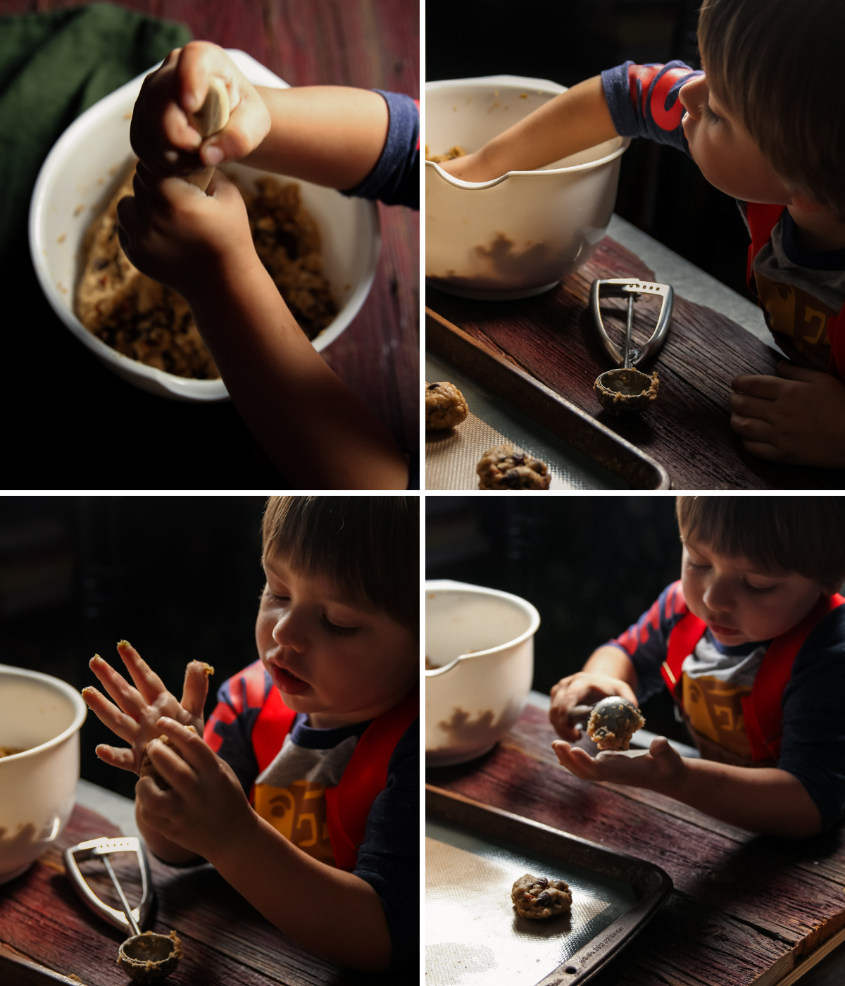 Making the best oatmeal cookies with cherries chocolate chips and almonds
