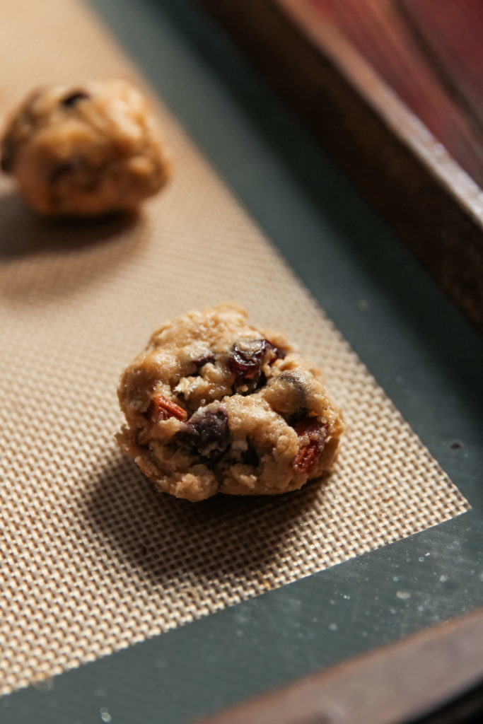 Making the most delicious chocolate chip cherry cookies