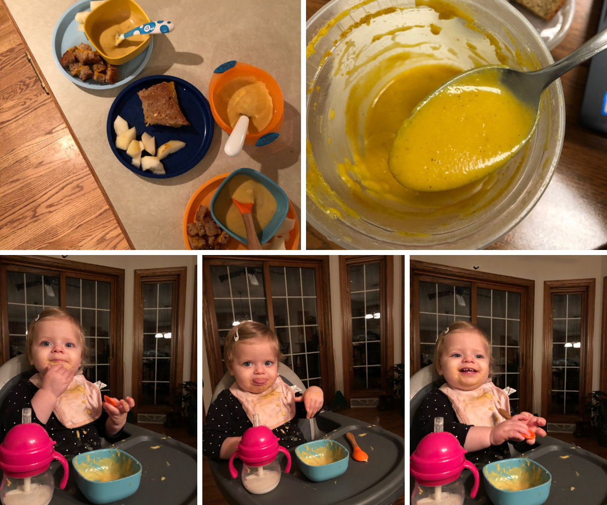 Kids eating butternut squash soup