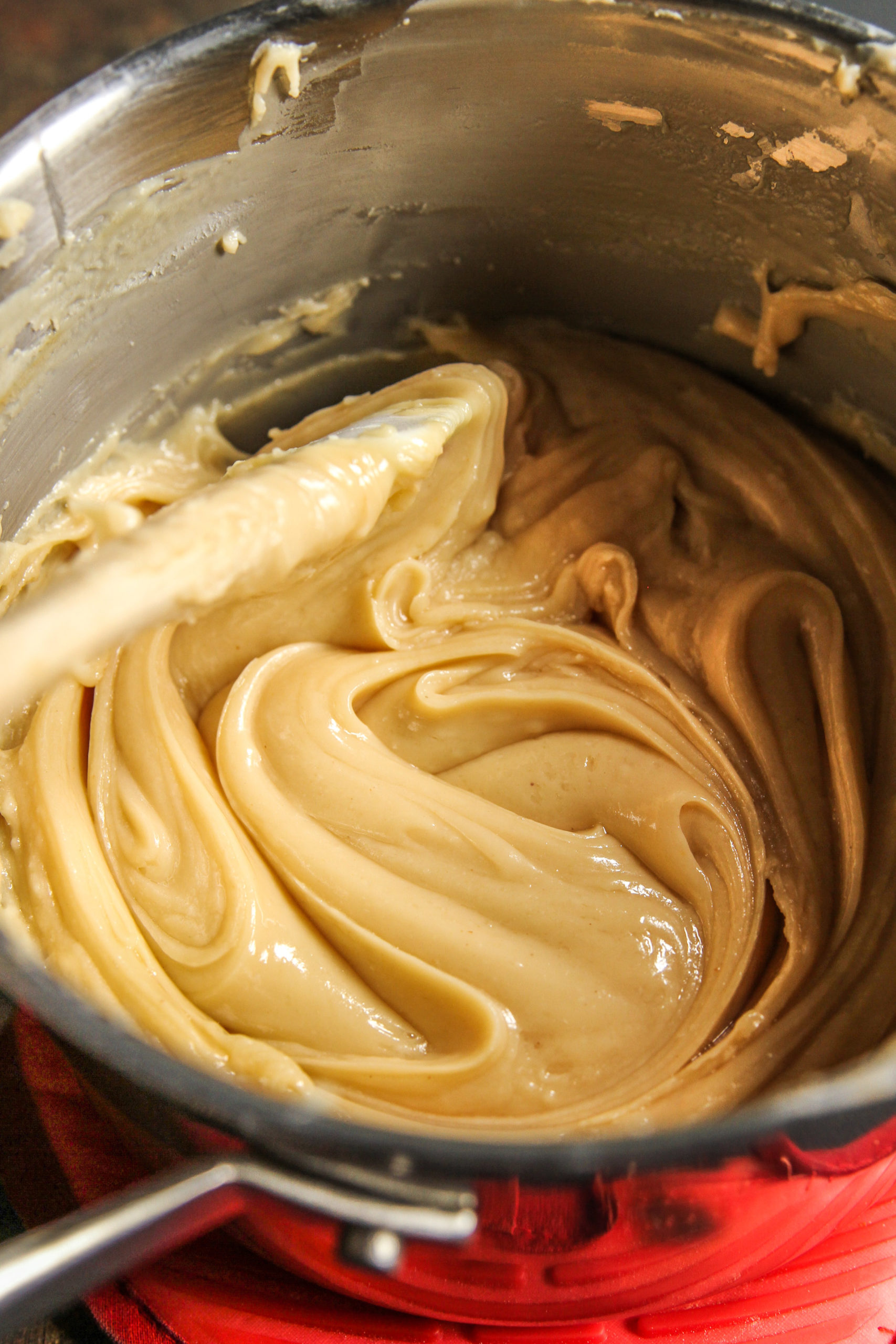 Mixing 5 ingredient peanut butter banana fudge