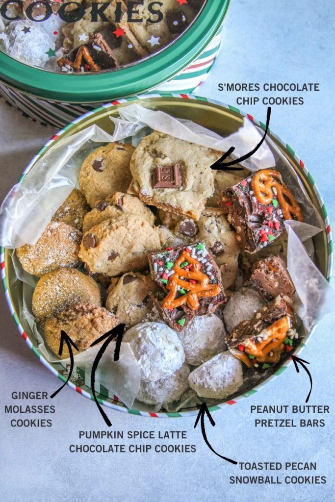 Christmas cookie tin with descriptions