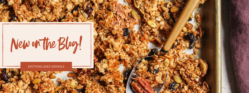 Anything goes big batch granola is new on the blog this week