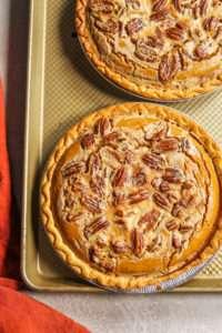 pumpkin pie with pecan pie topping