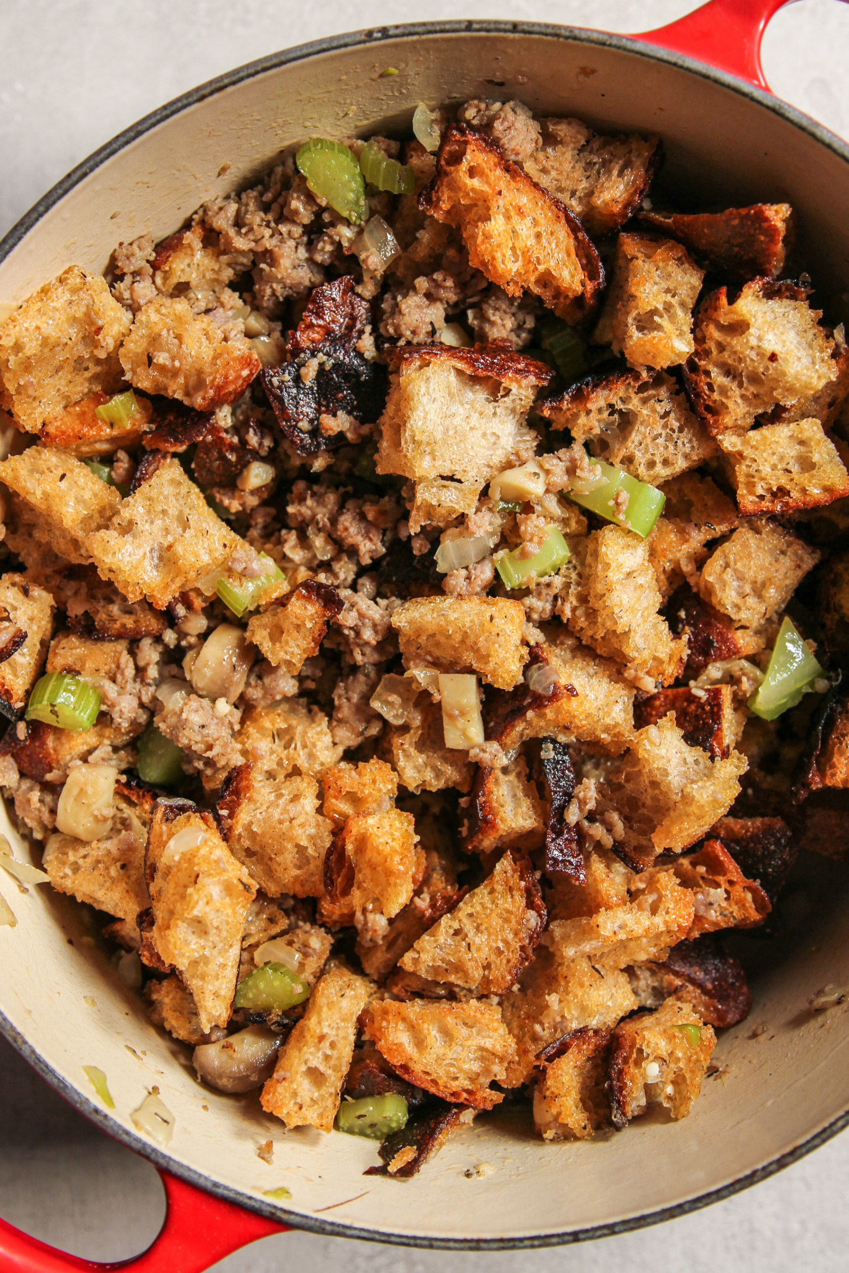 Stuffing made with sourdough bread