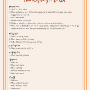 Thanksgiving to do list checklist