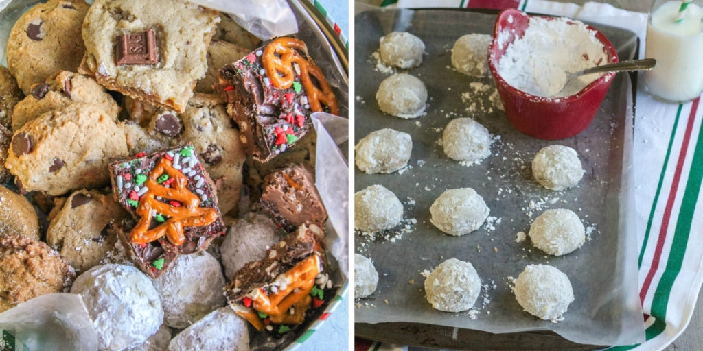 How to make a thoughtful cookie box - peanut butter pretzel bars and snowball cookies