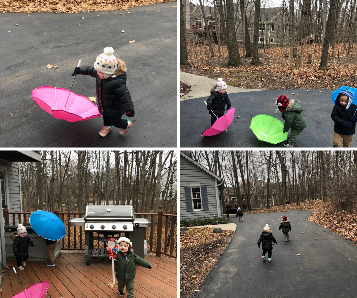 Walking with umbrellas