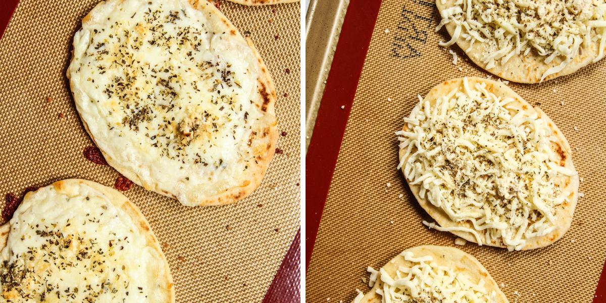 Making mini Naan pizzas