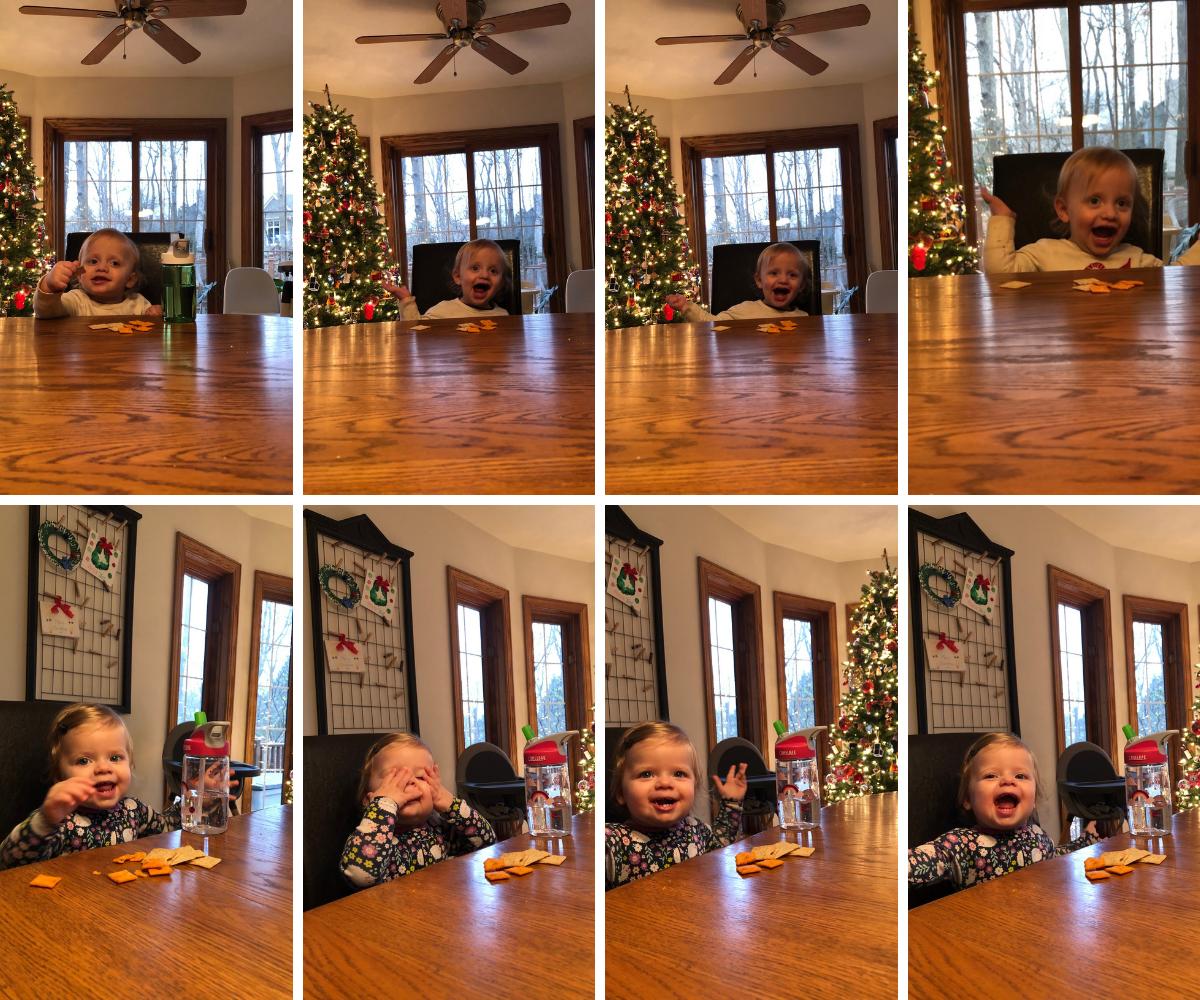 Babies in big kid chairs and peek a boo