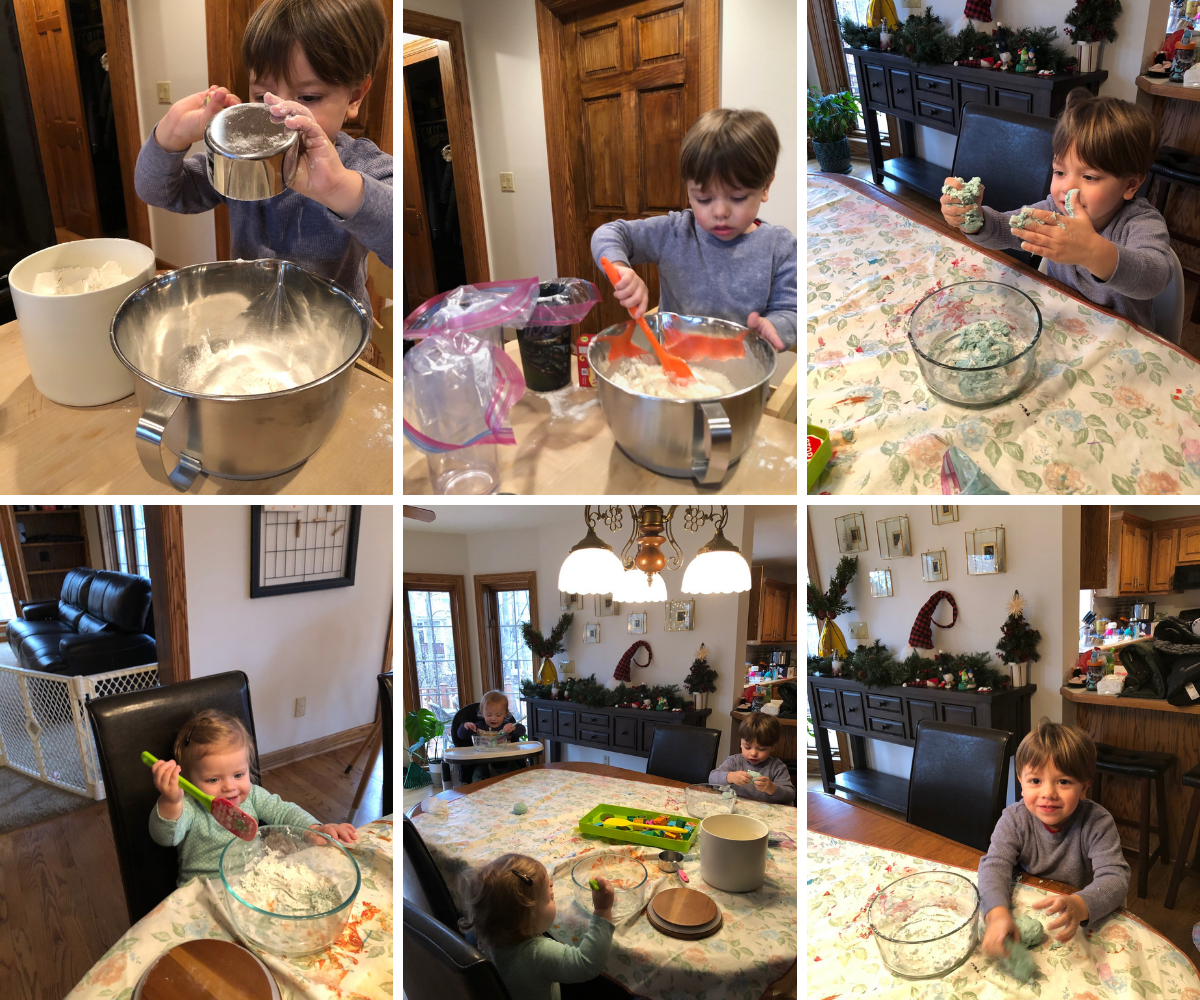 Our attempt at homemade playdough was a disaster