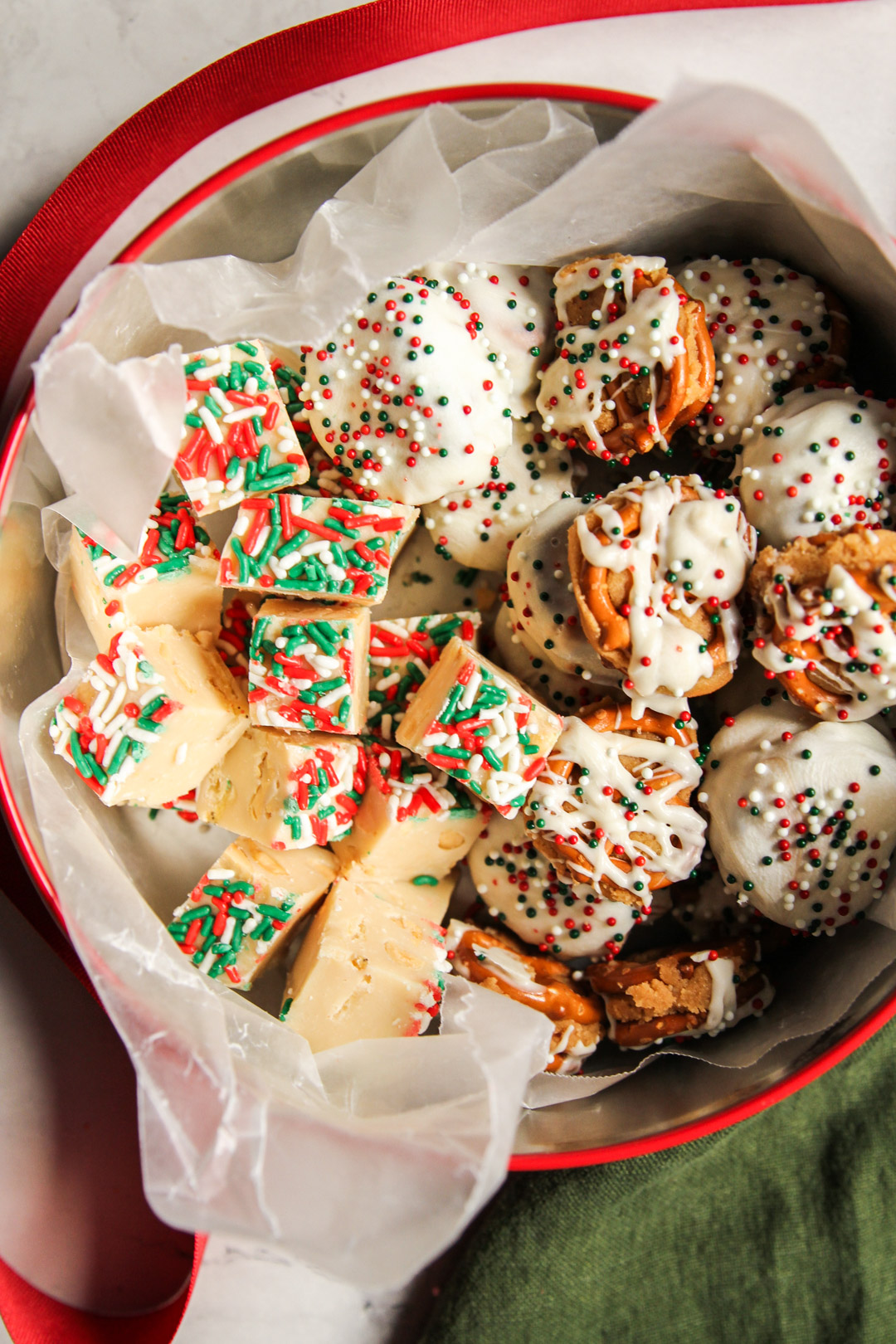 Caramel pretzel bite candies are great in a Christmas tin