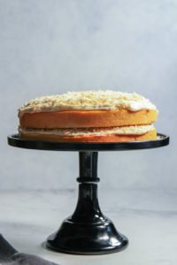 Coconut rum cake stacked