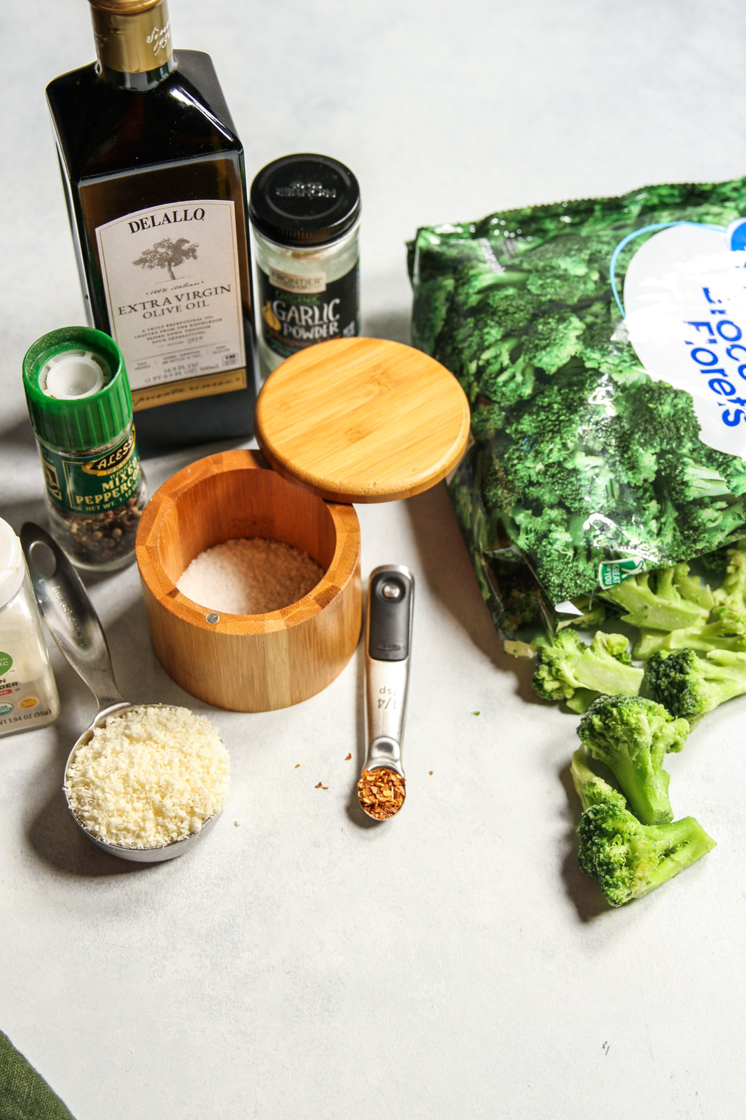 All of the ingredients you need for crispy from frozen roasted broccoli
