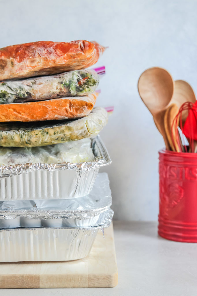 Freezer meals stacked