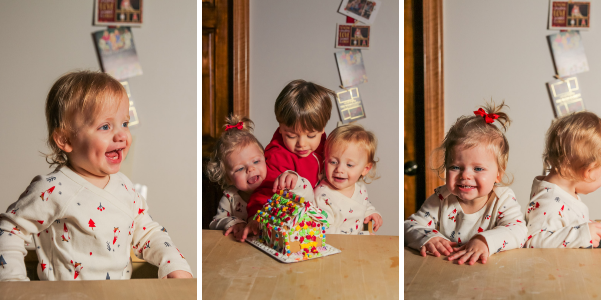 The kids baking gingerbread houses