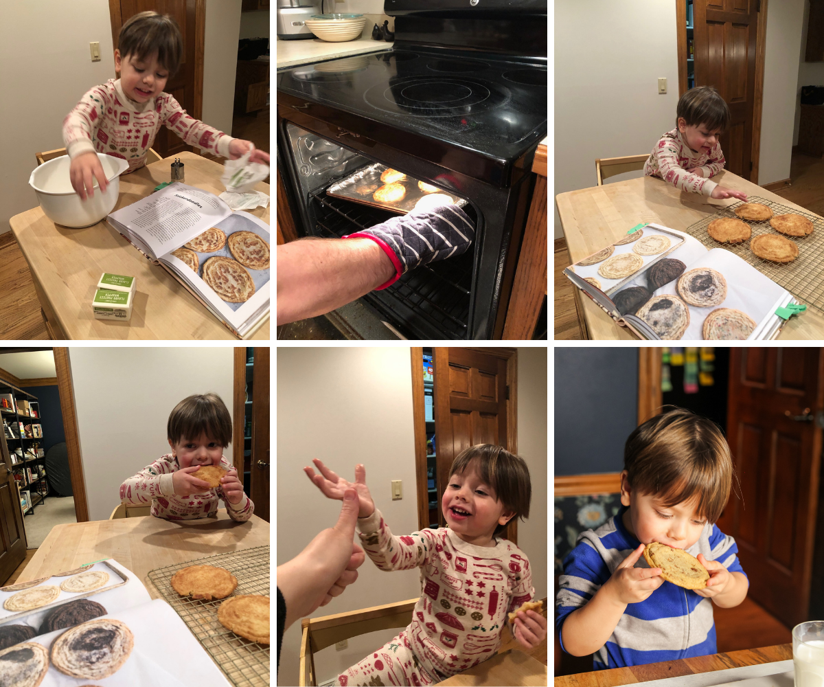 Toddler making and eating cookies