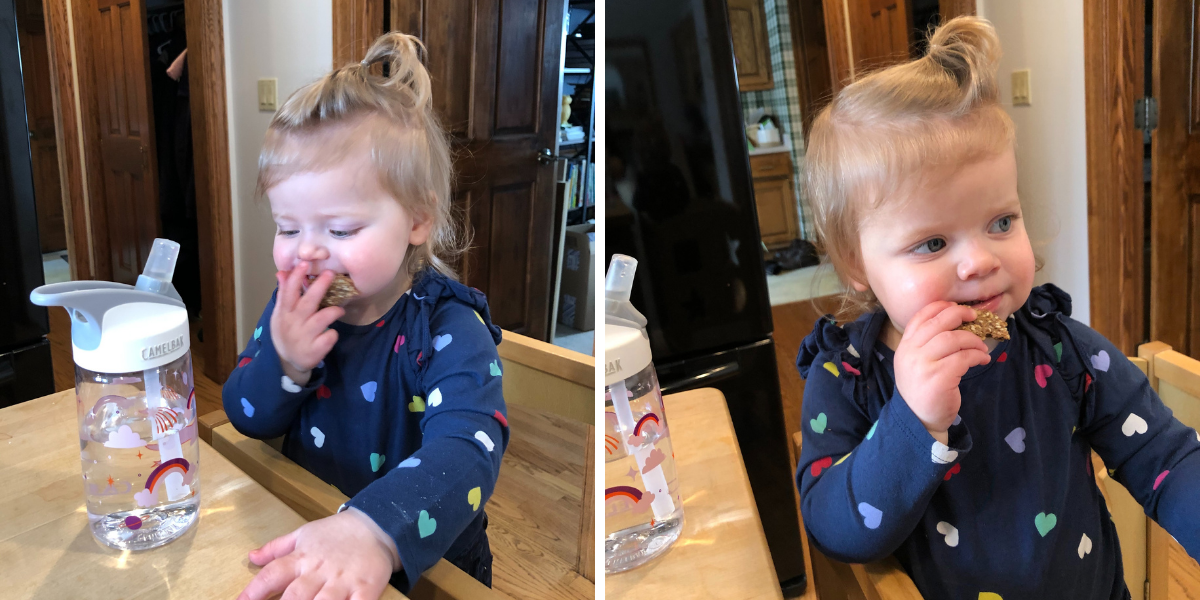 Toddler girl eating seed crackers