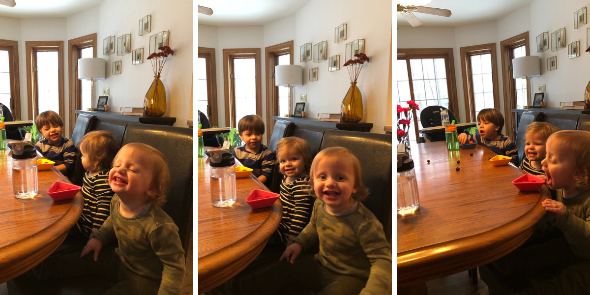 Kids sitting in chairs at the dining room table