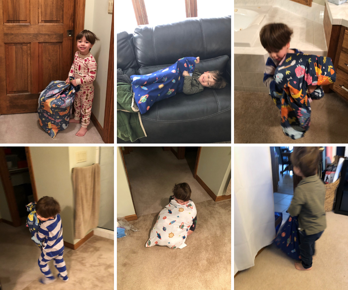 Ben packs up all of his toys in a pillow case and walks them throughout the house.