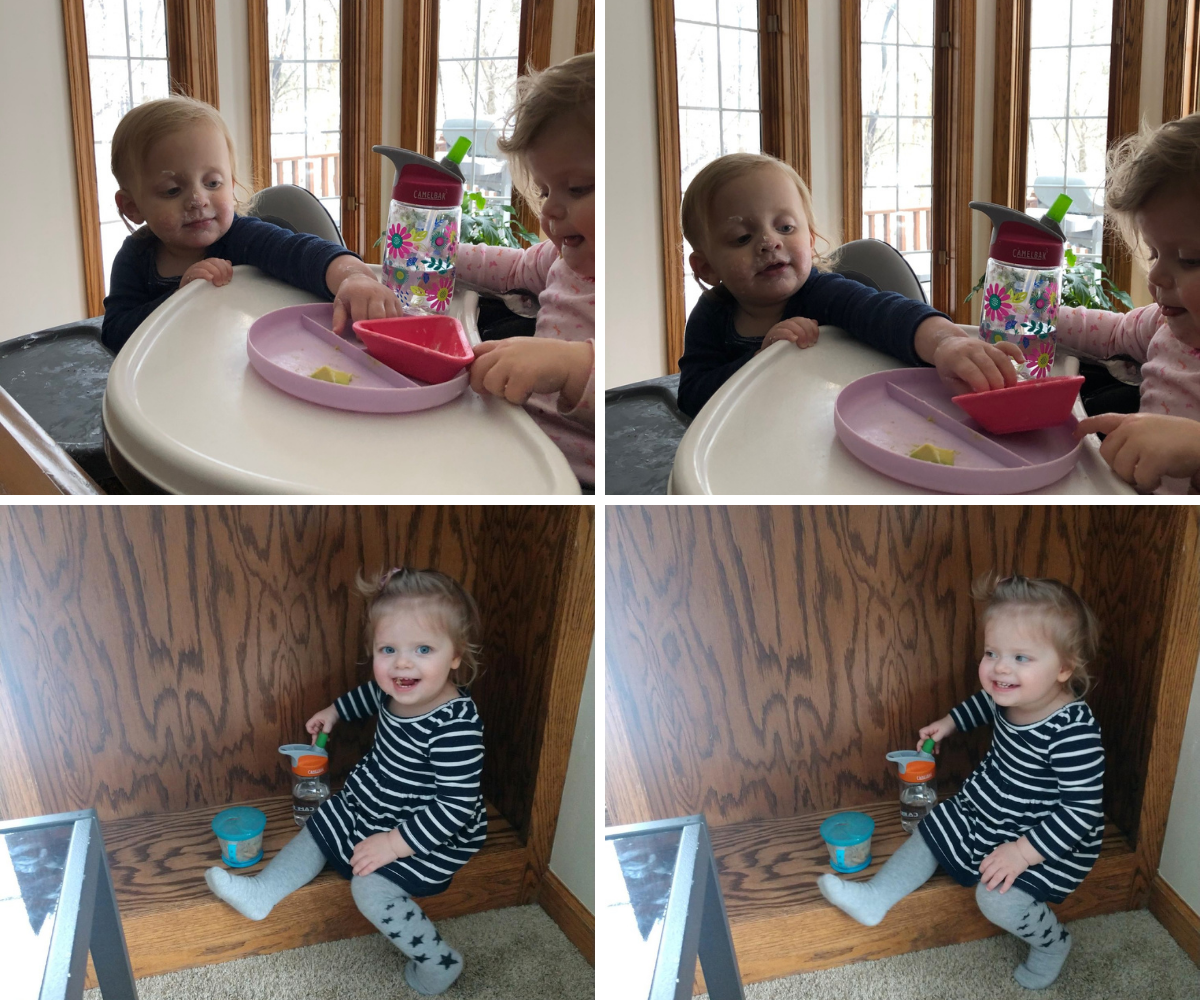 The twins are acting silly stealing yogurt and eating on shelves