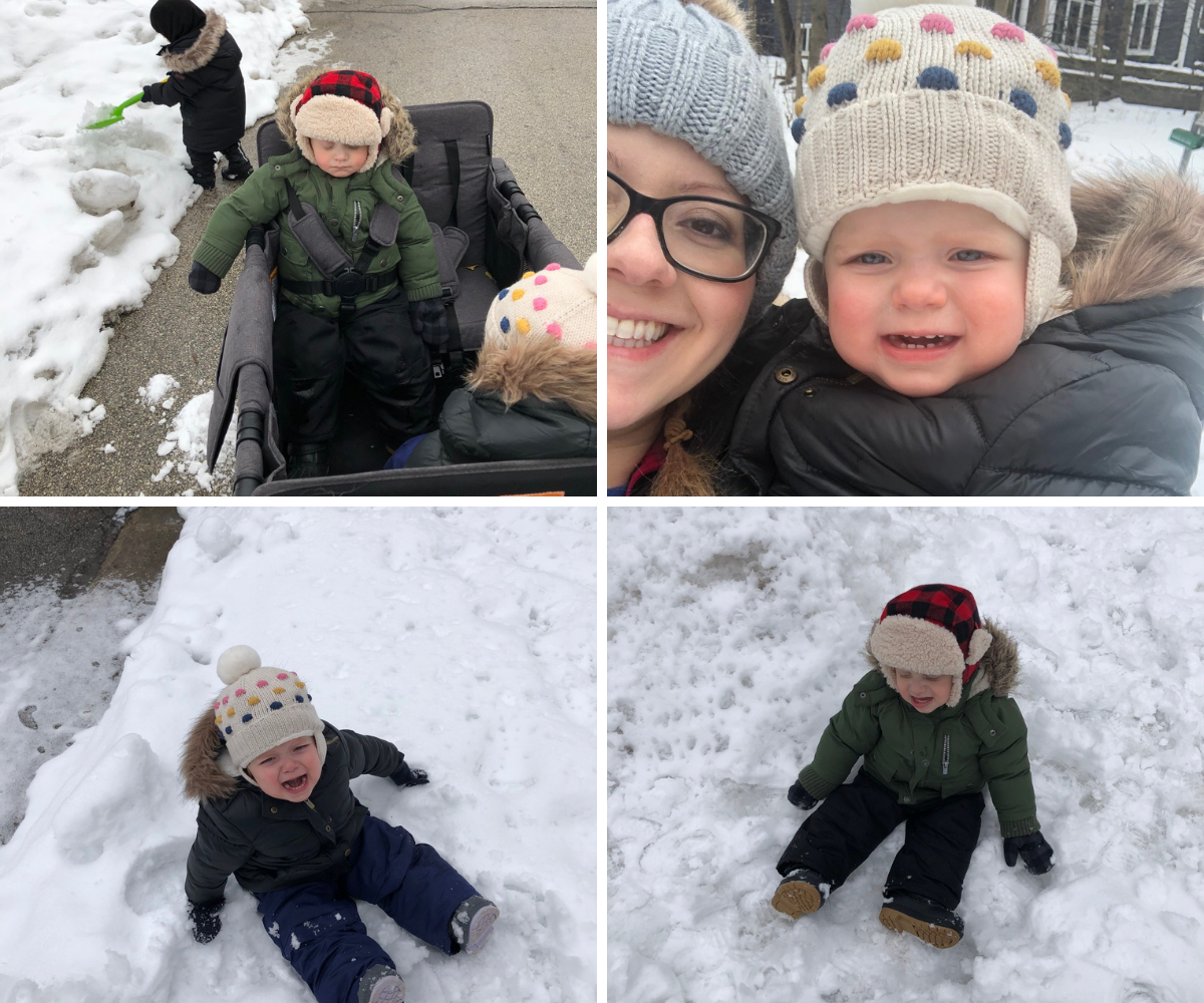 The twins do not like the Wisconsin winter snow
