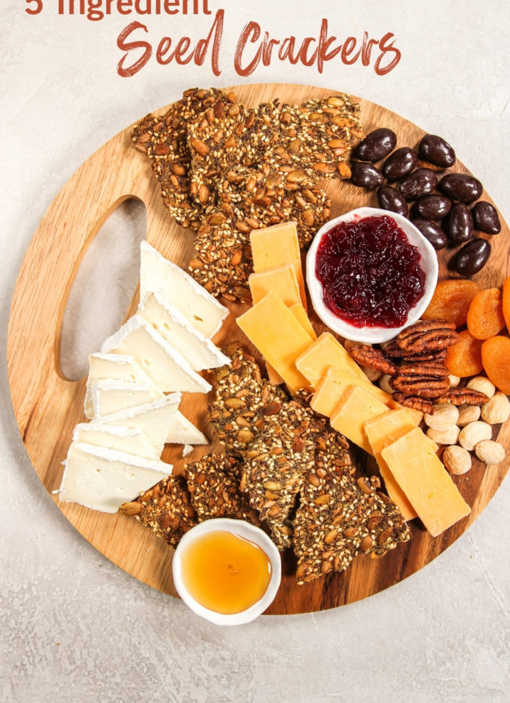 Seed crackers on a cheese board