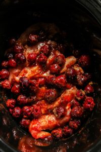 5 Ingredient cherry chicken and couscous in the slow cooker