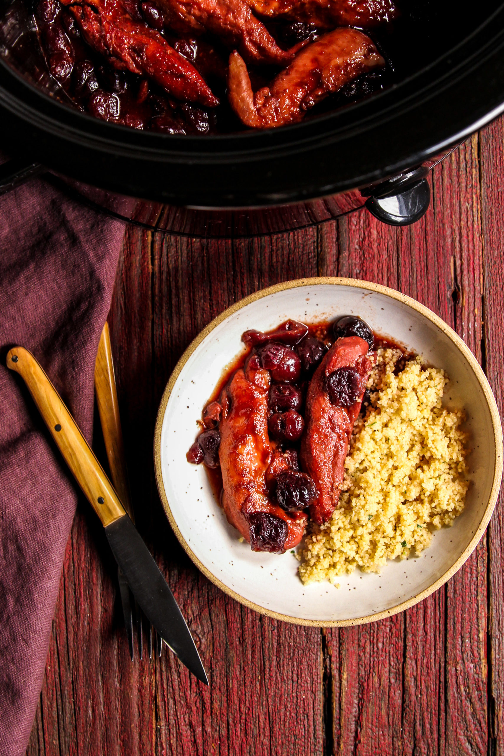 5 Ingredient cherry chicken and couscous prepared using the slow cooker