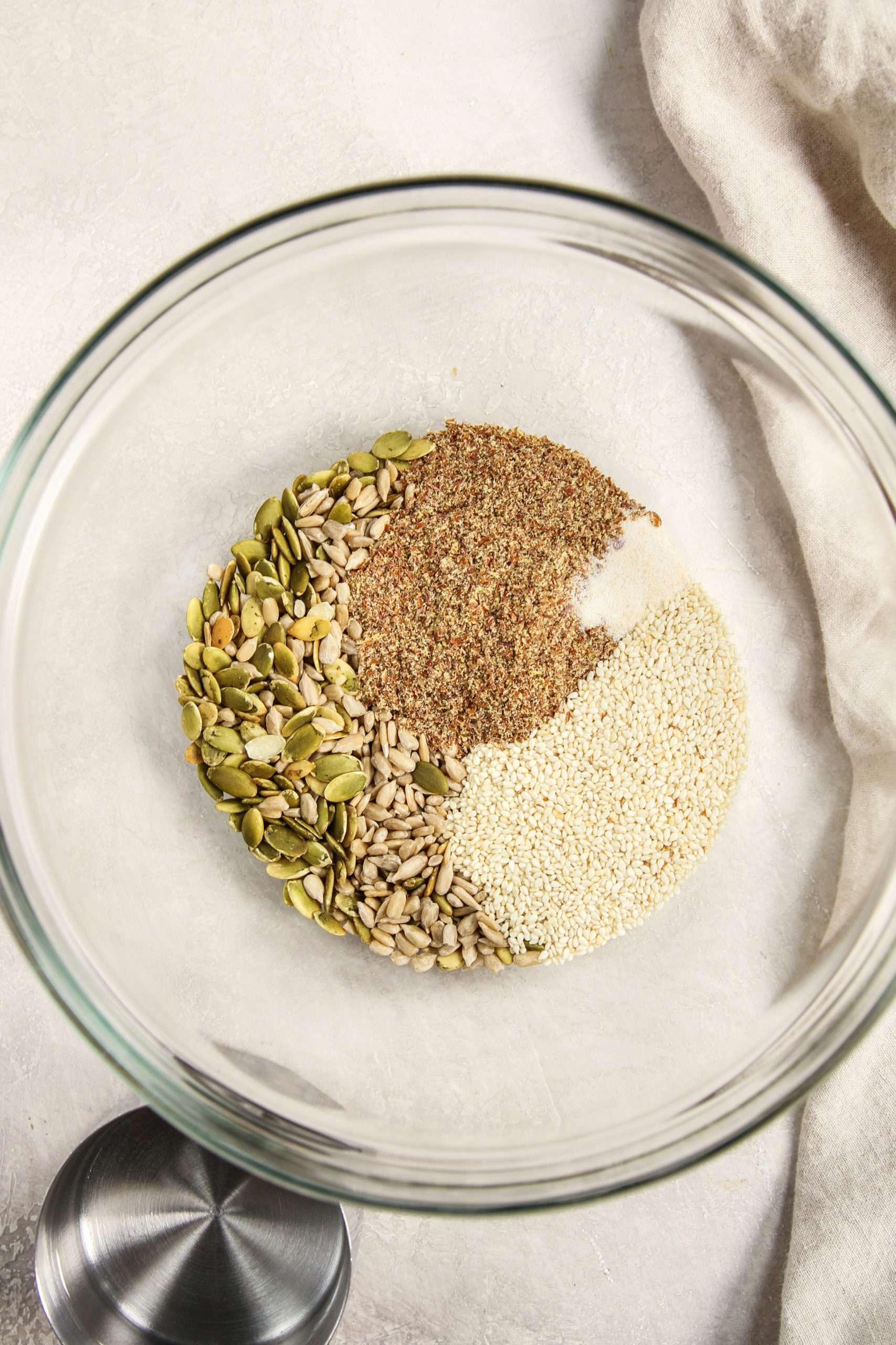 Ingredients used to make 5 ingredient seed crackers