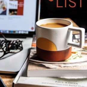 Love list image - coffee cup sitting on cookbooks