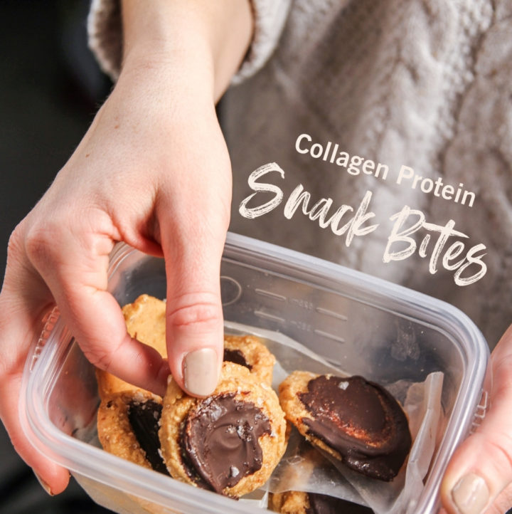 No bake collagen protein powder cookies snack bites in a container