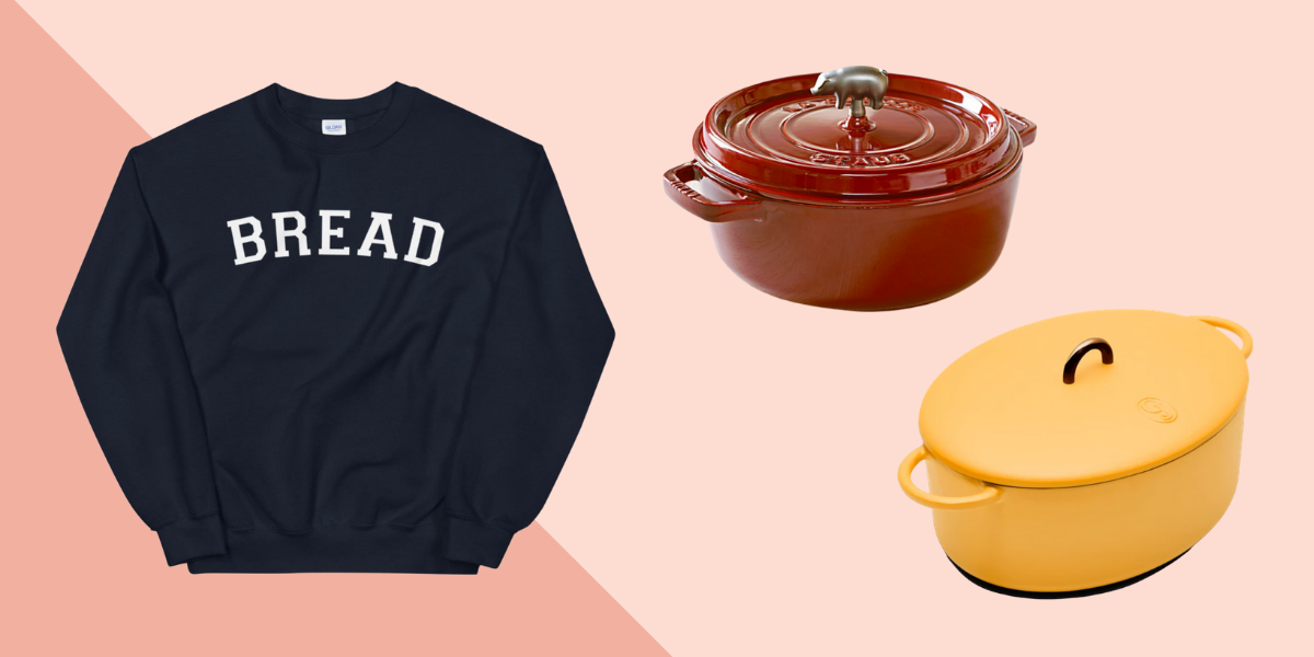 Bread sweatshirt and two dutch ovens