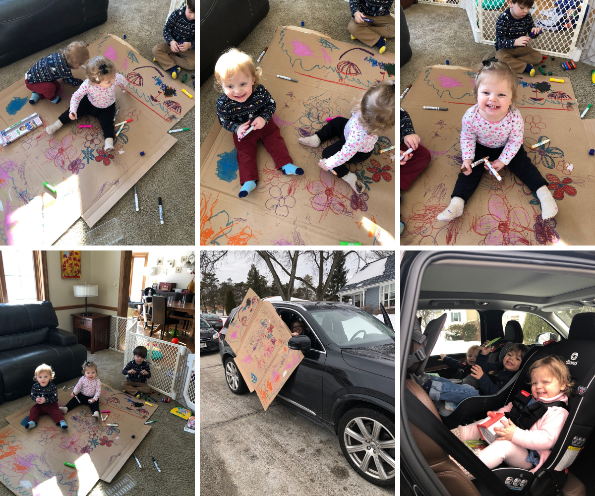 Kids crafting a large drive-by birthday sign