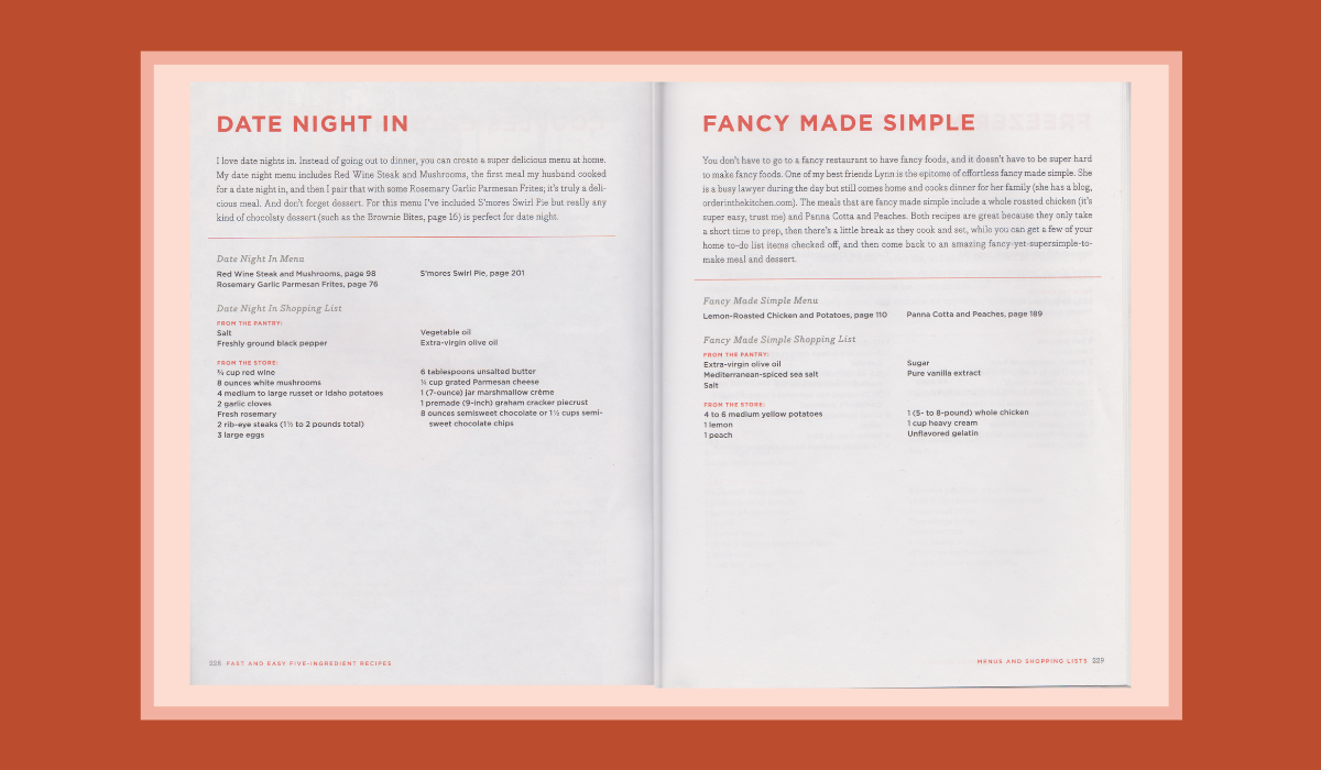 SweetPhi Fast and Easy 5 Ingredient cookbook open to couples cooking together pages