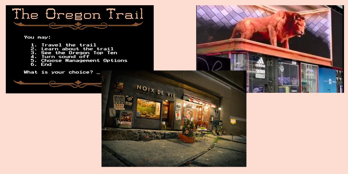 Oregon Trail, mini street art storefronts, amazing motion graphics