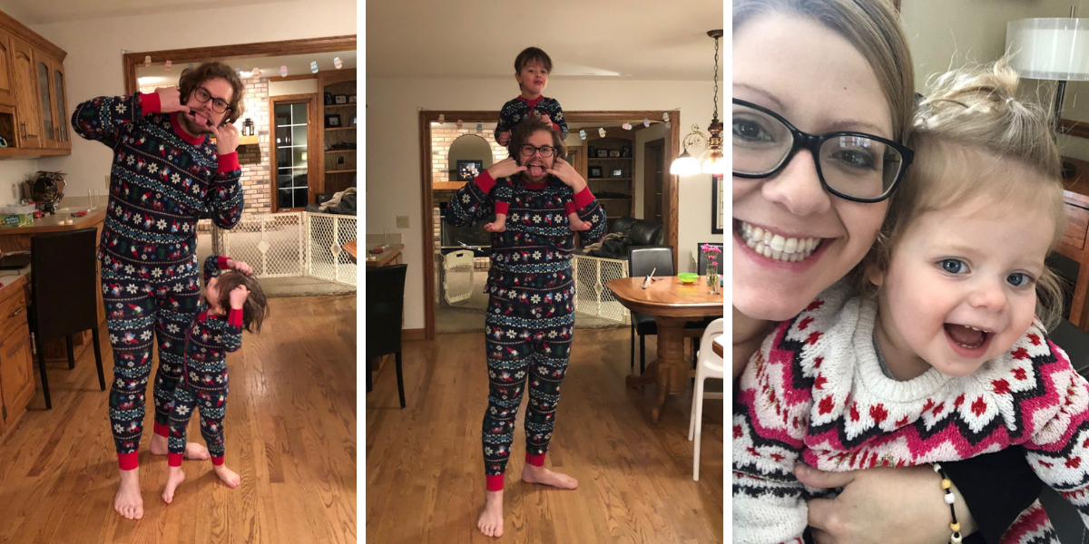 Son and Dad in matching pajamas