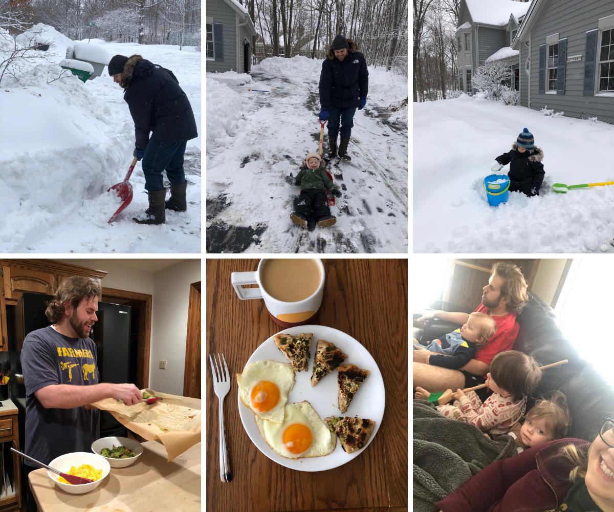 Shoveling out from a snow storm and hunkering down inside cooking and snuggling
