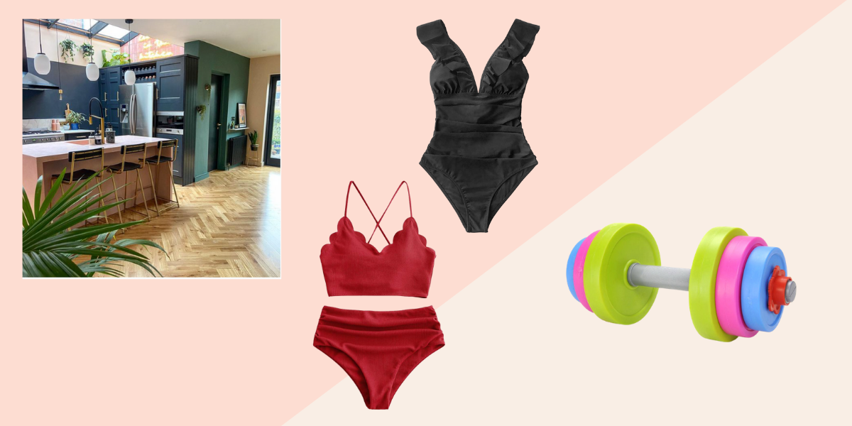Beautiful home Instagram account, two great swimsuits and a kids dumbbell