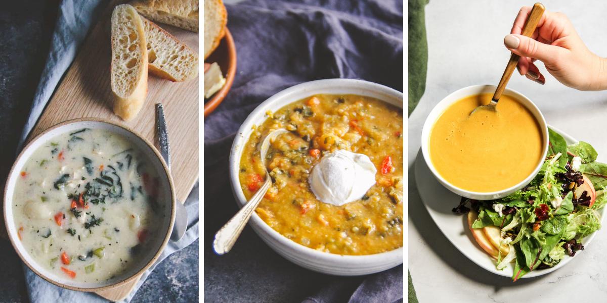 Chicken gnocchi soup, Lentil vegetable soup, Butternut squash soup