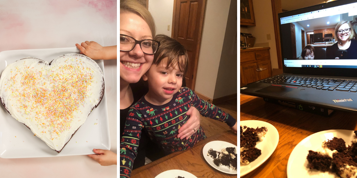 Heart-shaped cake, Phi and Ben and virtual play date