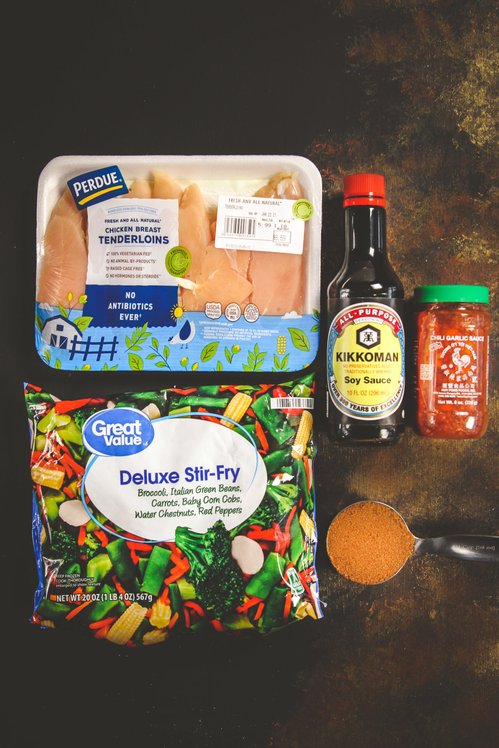 Ingredients used to make 5 ingredient homemade teriyaki sauce chicken stir fry