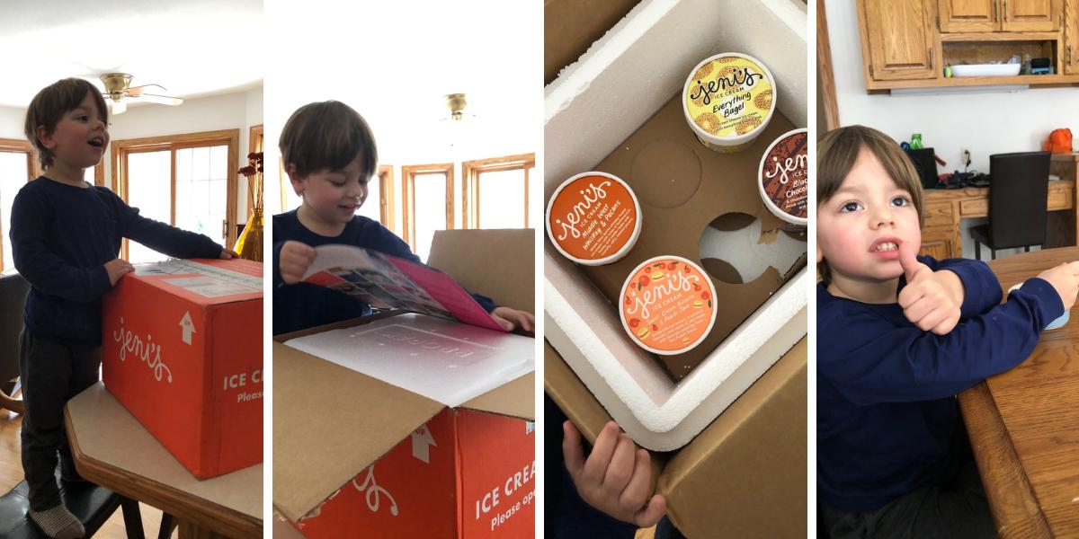 Ben unpacking and tasting Jeni's Ice Cream
