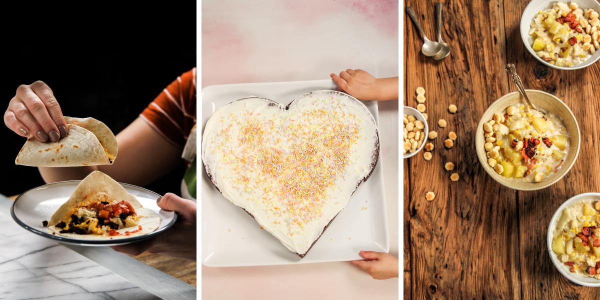 Breakfast tacos, heart-shaped cake and corn cauliflower chowder