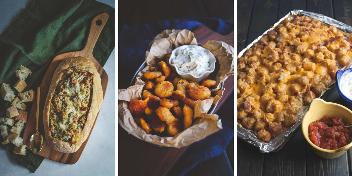 Cheesy sausage dip, sour cream dip and loaded tater tots