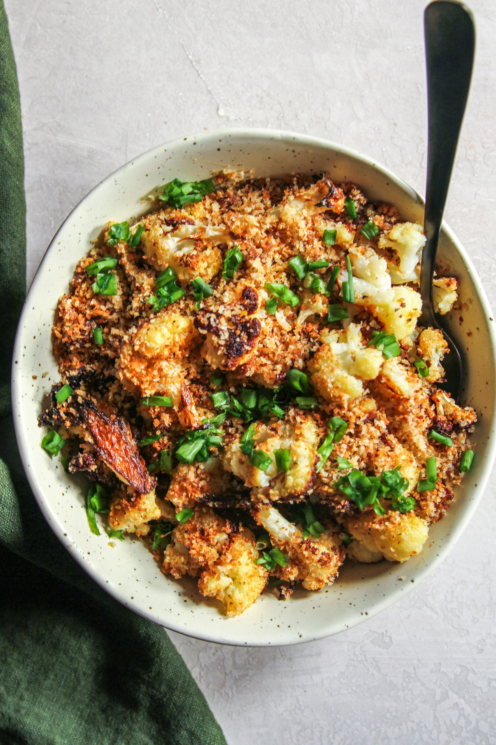 Bowl of food with anchovy breadcrumbs